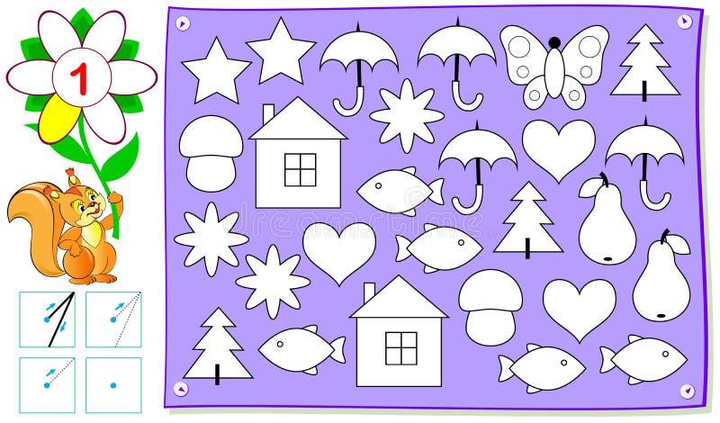 Página educacional para jovens crianças com número um Precise de colorir somente um de cada objeto ilustração royalty free
