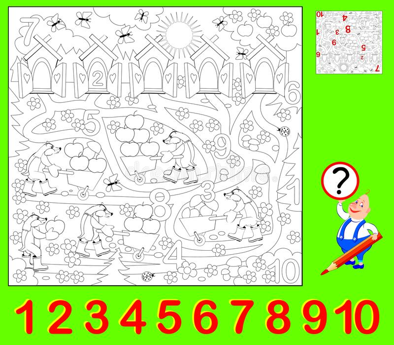 Página educacional para jovens crianças Precise de encontrar os números escondidos e de pintá-los Habilidades tornando-se para co ilustração royalty free