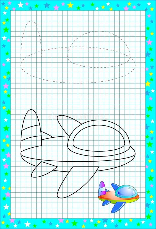 Página educacional para poucas crianças no papel quadrado Precise de tirar e pintar o avião bonito pela cópia Habilidades tornand ilustração royalty free