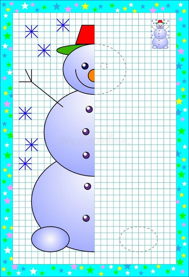 Página educacional para poucas crianças no papel quadrado Precise de tirar a segunda parte do boneco de neve bonito Habilidades t ilustração royalty free
