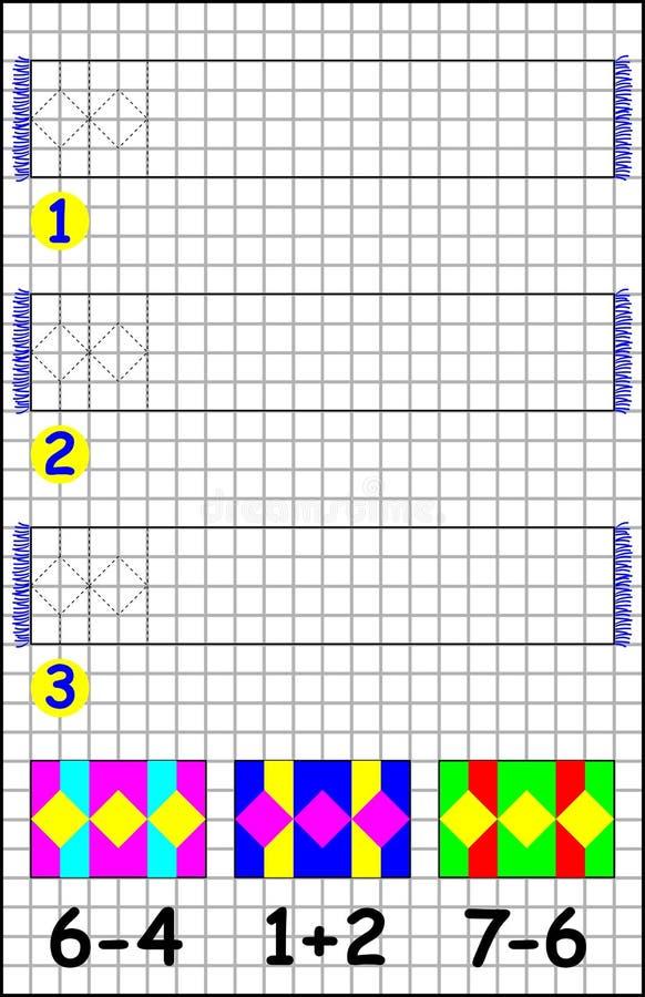 Página educativa con los ejercicios para los niños en un papel cuadrado stock de ilustración