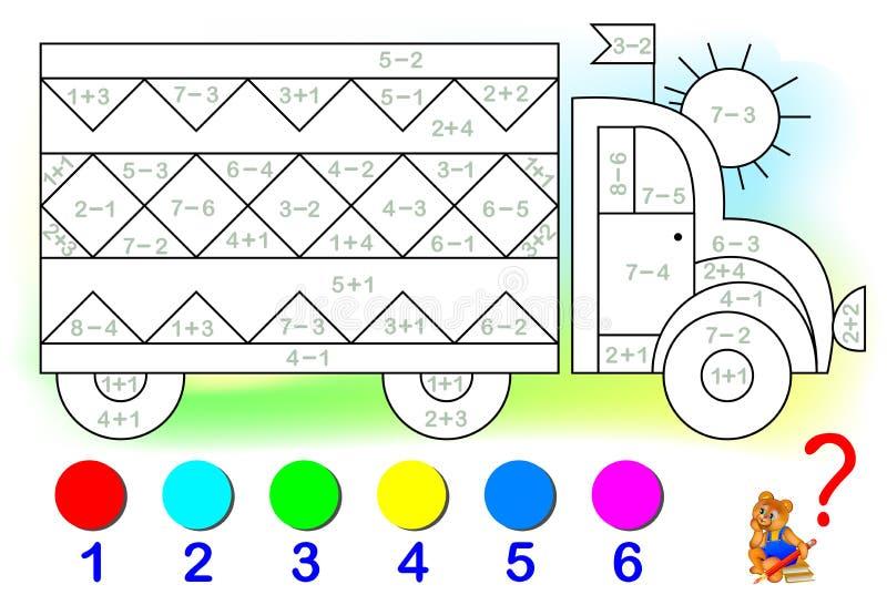 Página educativa con los ejercicios para los niños en la adición y la substracción Necesite solucionar ejemplos y pintar la image ilustración del vector