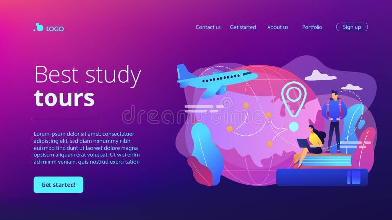 Página educativa del aterrizaje del concepto del turismo ilustración del vector