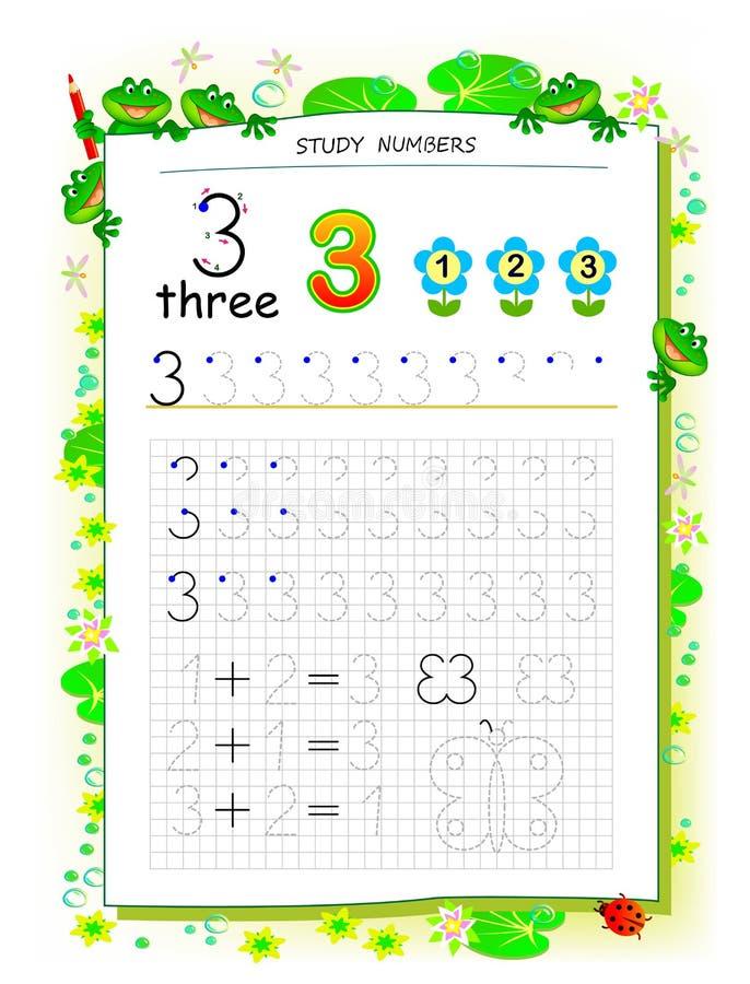 Página educativa en el papel cuadrado para los niños con el número 3 Hoja de trabajo imprimible para el libro de texto de los ni? stock de ilustración