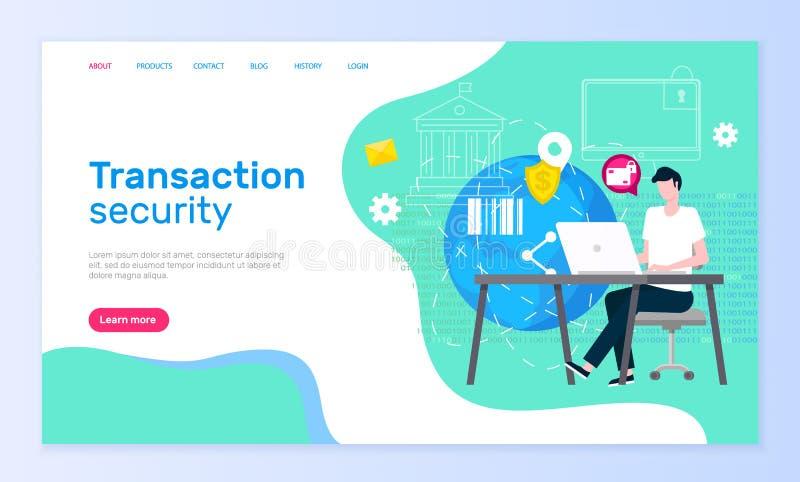 Página em linha do serviço de assistência da segurança da transação ilustração stock