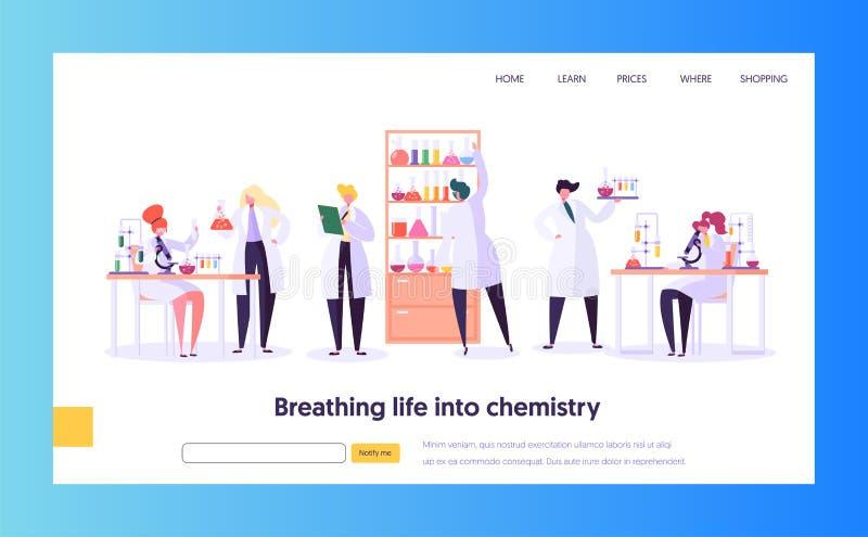 Página farmacêutica da aterrissagem do conceito da pesquisa do laboratório Cientista Character Working no laboratório de química  ilustração do vetor