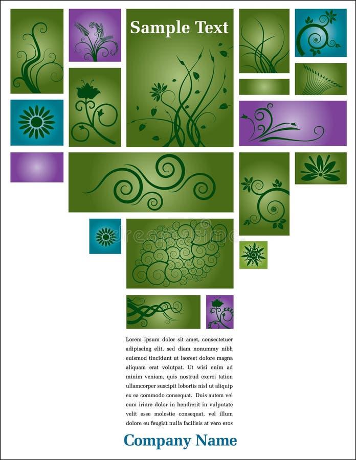 Página floral com texto ilustração do vetor
