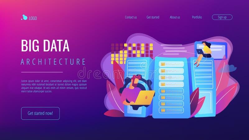 Página grande da aterrissagem do conceito do armazenamento de dados  ilustração royalty free