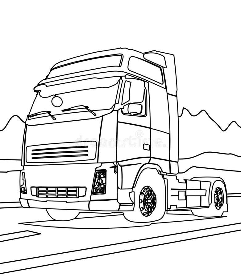 Página grande da coloração do caminhão ilustração royalty free