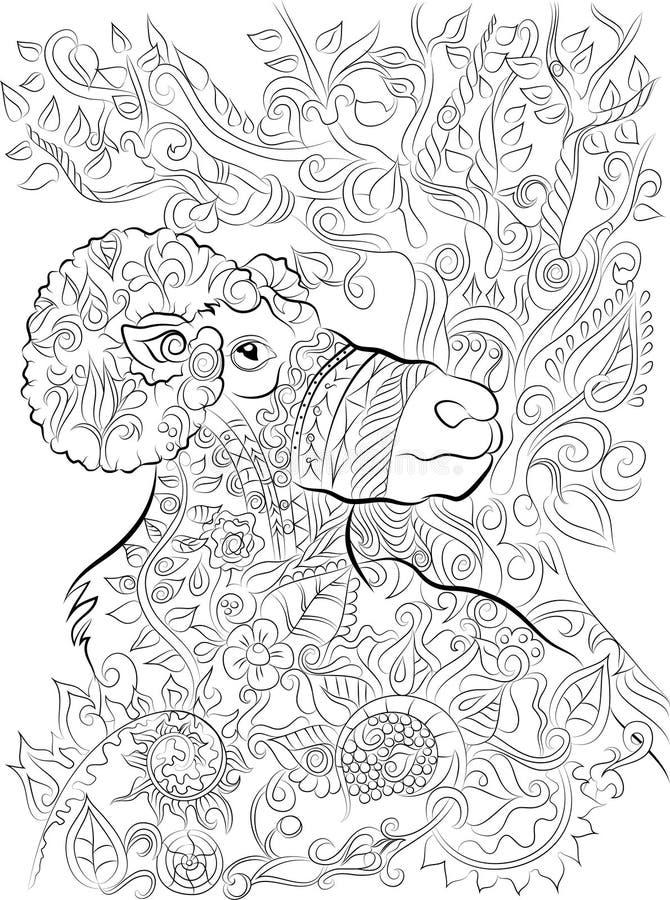 Página grande dibujada mano del colorante del cuerno para los adultos fotos de archivo libres de regalías
