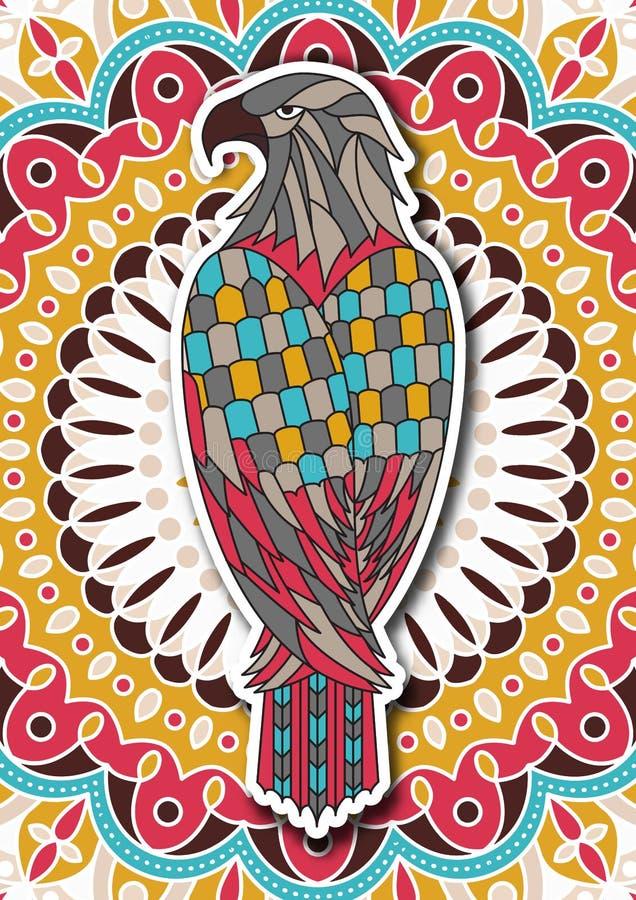 Página imprimível da coloração para adultos com águia ilustração do vetor