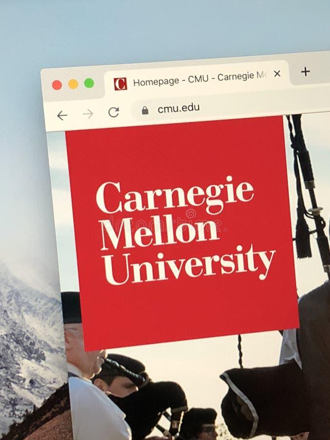 Página inicial da Universidade Carnegie Mellon imagens de stock