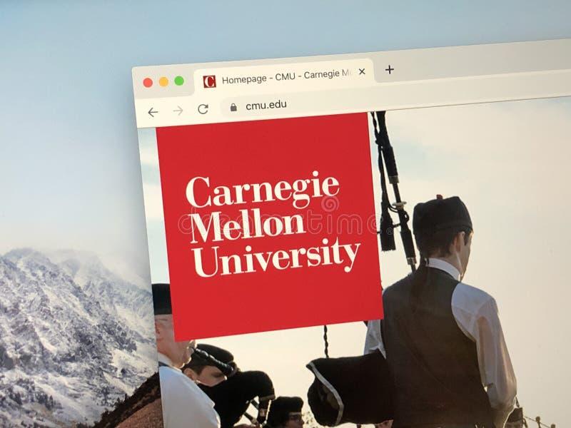 Página inicial da Universidade Carnegie Mellon imagem de stock
