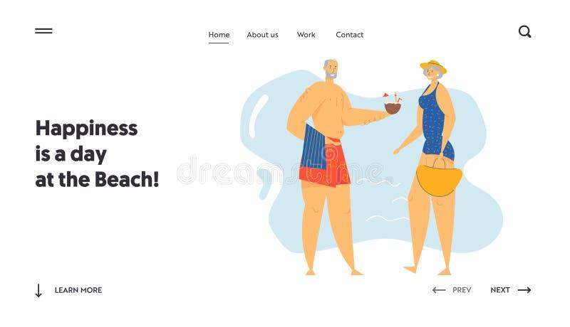 Página inicial de dois idosos no site do Seaside, Personagens idosos em Exotic Resort Beach, Leisure, Summer ilustração royalty free