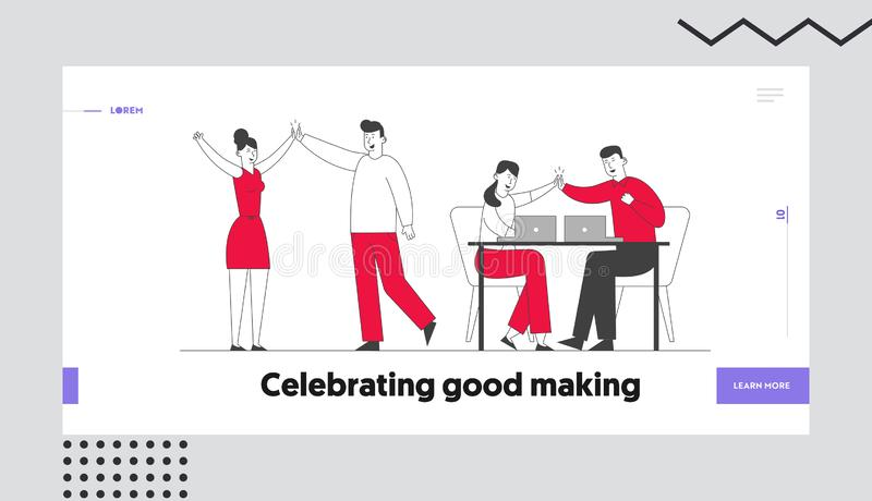 Página inicial do projeto, site de vitória, bem-sucedido Colegas de negócios que dão o maior de cinco no escritório se regozijam  ilustração royalty free