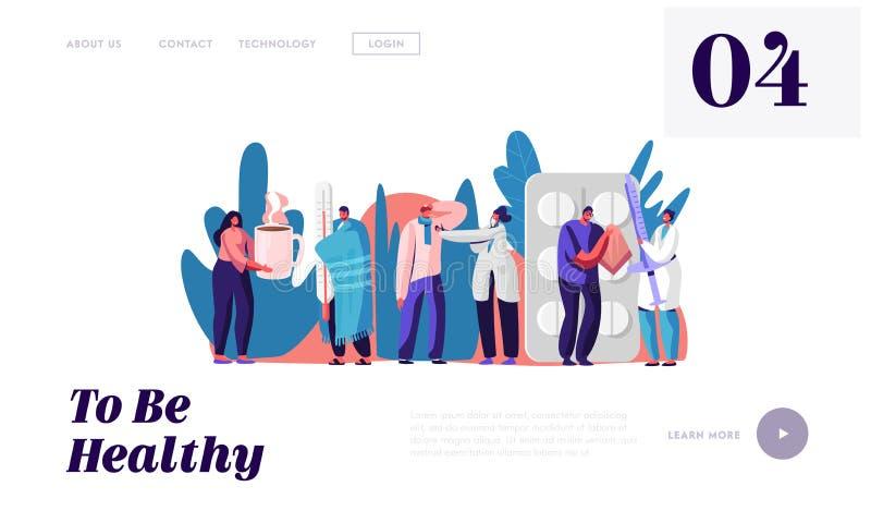 Página inicial do sítio Web do hospital ou clínica Doentes na Nomeação Médica Doenças e cuidados de saúde ilustração do vetor