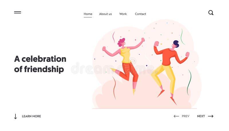Página inicial do site de celebração de feriados Feliz Festa de Comemoração de Amigos Pessoas dançando e pulando com as mãos para ilustração do vetor