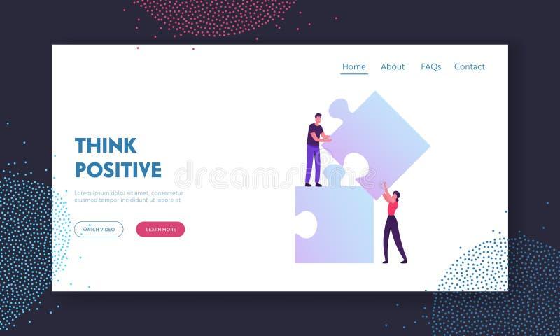Página inicial do site de cooperação em equipe, parceria e cooperação em equipe Pessoas de negócios conectando elementos de quebr ilustração do vetor