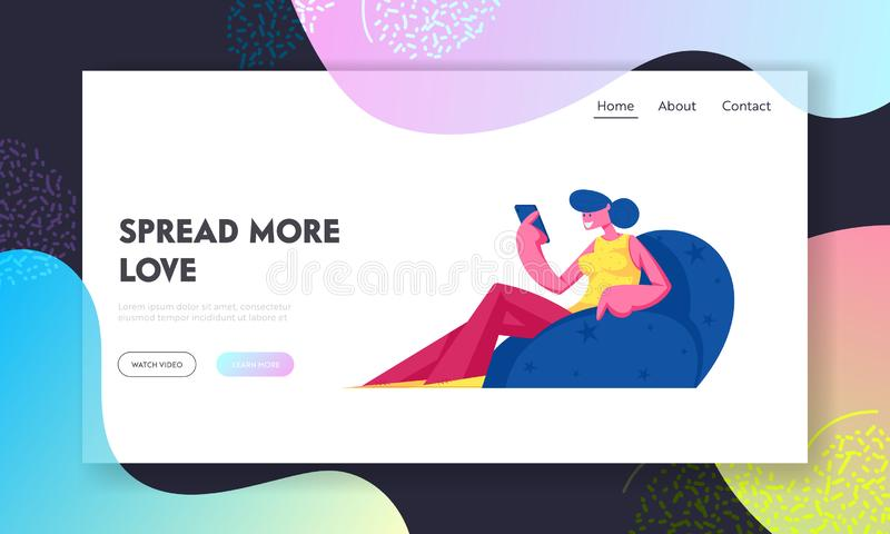 Página inicial do site de entretenimento da comunidade de Internet Jovens sorrindo Amam Correspondência Comunicando ilustração royalty free