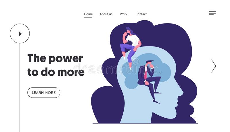 Página inicial do site de soluções de pesquisa e brainstorm de pessoas criativas Empresário e empresária ilustração do vetor