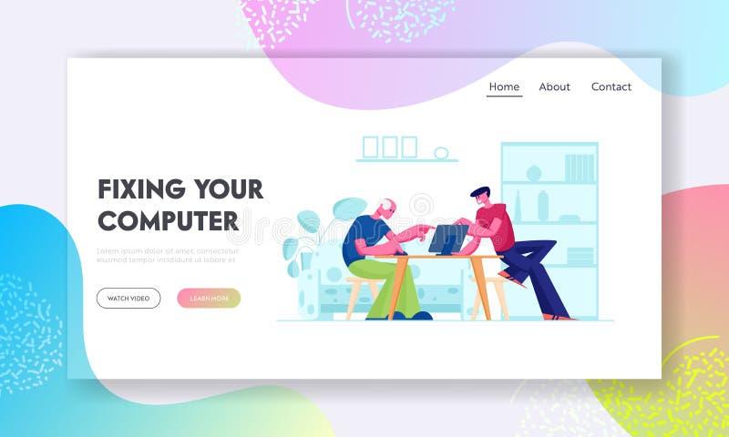 Página inicial do site Educação de Computadores para Pessoas Idosas Filho jovem ensinando pai sentado à mesa usando laptop ilustração do vetor