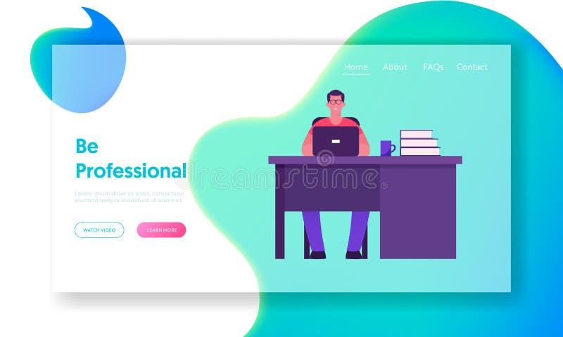 Página inicial do site do Office Worker Lifecycle Jovem sorrindo trabalhando no laptop sentado na cadeira na mesa com o laptop ilustração do vetor