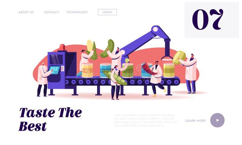 Página inicial do site do processo de trabalho de fábrica Produção de Produtos Hortícolas Enlatados Trabalhadores Colocam Veggens ilustração royalty free