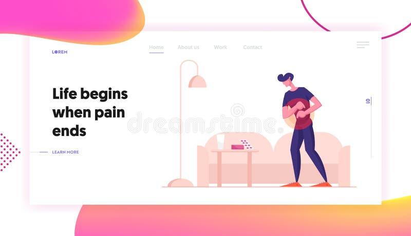 Página inicial do site Stomach sente dor no homem Intoxicação Por Alimentos, Trato Digestivo Ingestão Dor De Estômago Dor Abdomin ilustração stock