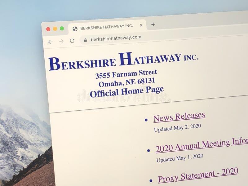 Página inicial oficial de Berkshire Hathaway imagem de stock royalty free