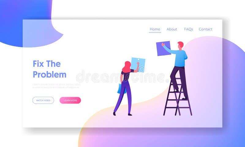 Página Inicio de sitio web de Office: Business People Team Planning Events Empresarios programando trabajo en la agenda stock de ilustración