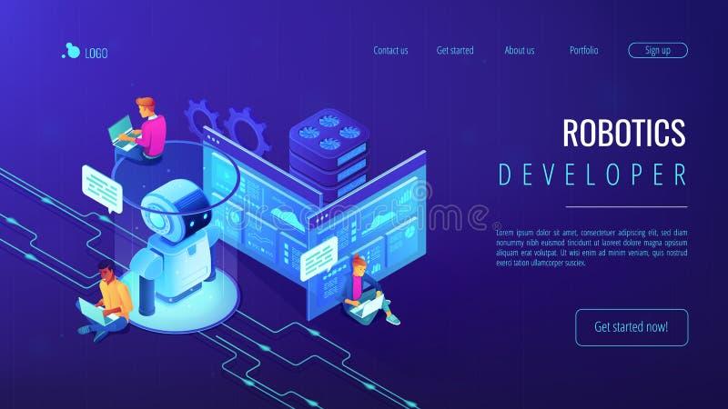Página isométrica del aterrizaje 3D del desarrollador de la robótica libre illustration