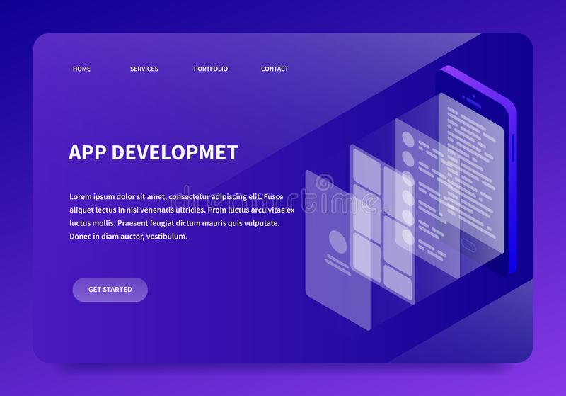 Página isométrica del aterrizaje del desarrollo del App stock de ilustración