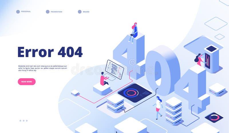 página 404 isométrica O erro de trabalho perdeu o projeto de aterrissagem não encontrado do vetor do problema de 404 sinais ilustração do vetor