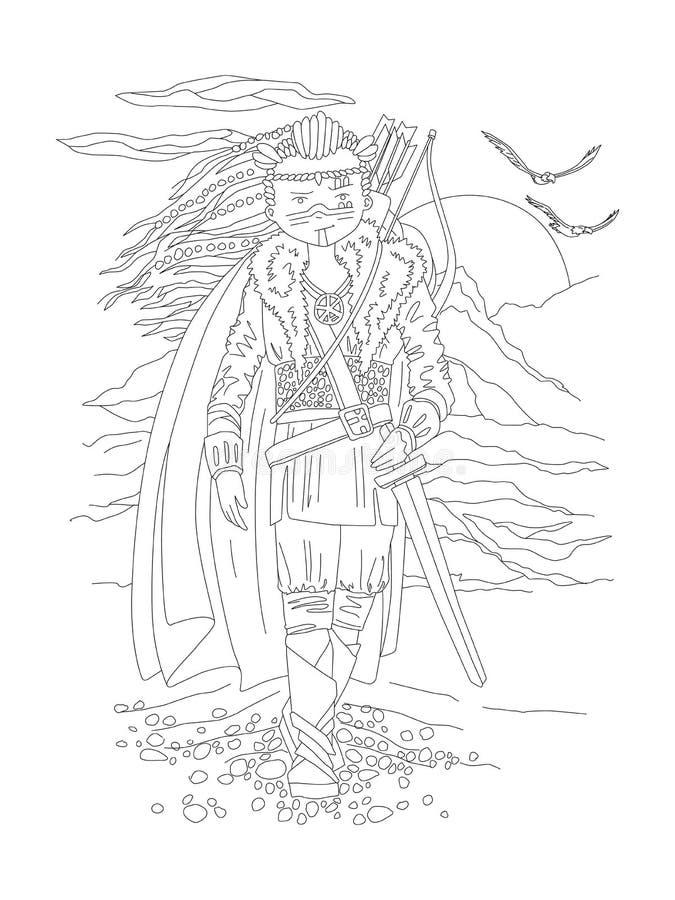 Página linda del colorante del drenaje de la mano con el guerrero valiente de la muchacha, en el equipo salvaje antiguo - vikingo stock de ilustración
