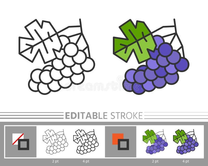 Página linear da coloração do ícone das uvas ilustração stock