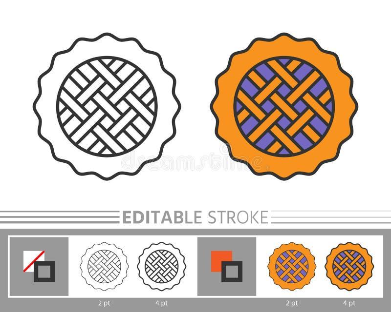 Página linear da coloração do ícone da torta ilustração royalty free