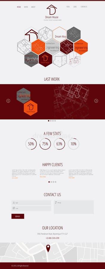 Página lisa da aterrissagem da Web da empresa de bens imobiliários de casa ideal do projeto D ilustração stock