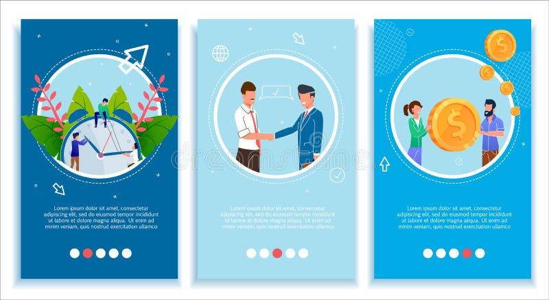A página móvel ajustada para o negócio melhora e torna-se ilustração stock