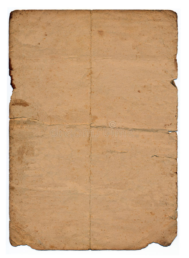 Página manchada do papel velho fotografia de stock