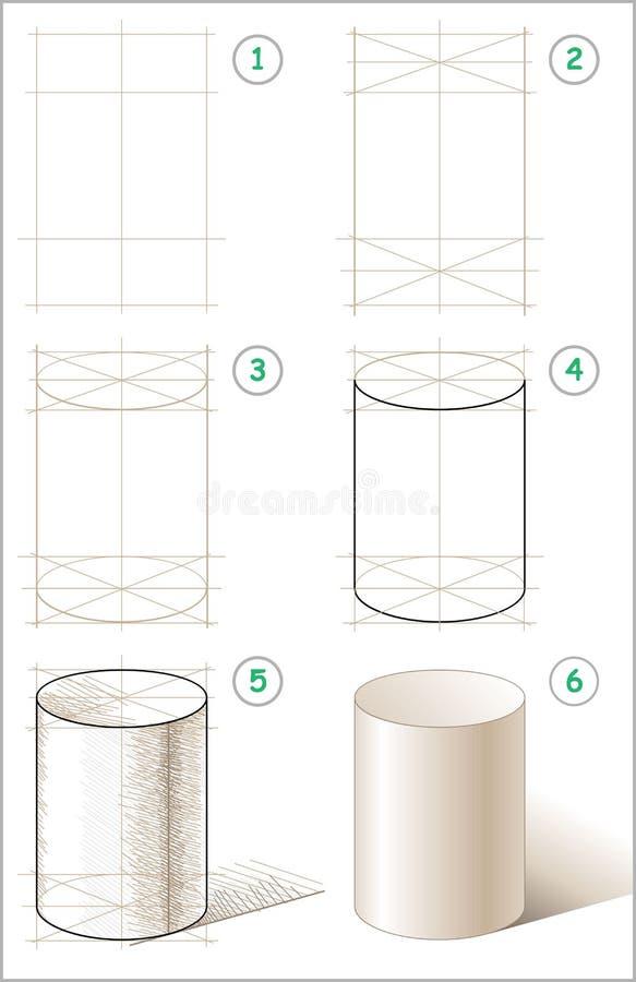 A página mostra como aprender ponto por ponto tirar o cilindro ilustração royalty free