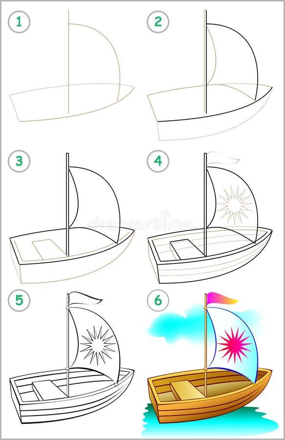 A página mostra como aprender ponto por ponto tirar um barco ilustração royalty free