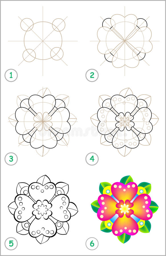 A página mostra como aprender ponto por ponto tirar uma flor ilustração royalty free