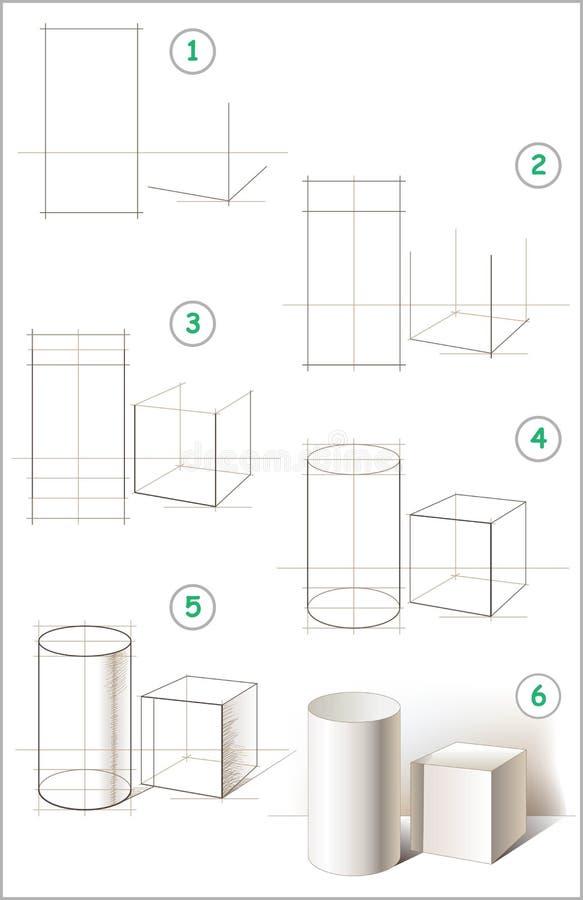 A página mostra como aprender ponto por ponto tirar uma vida imóvel com cilindro e cubo ilustração do vetor