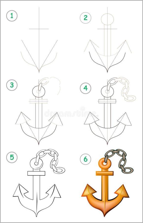 A página mostra como aprender ponto por ponto tirar uma âncora Habilidades tornando-se das crianças para tirar e colorir ilustração royalty free