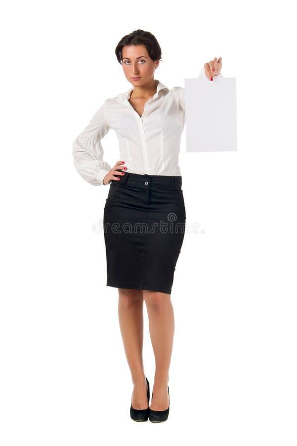 Página Nova Do Papel Em Branco Da Mostra Da Mulher De Negócio Foto de Stock Royalty Free