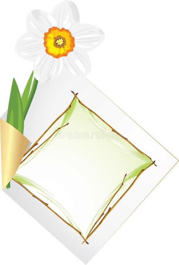 Página ondulada com daffodil ilustração do vetor