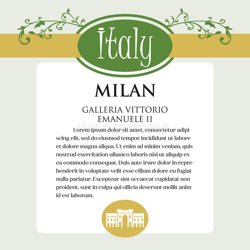 Página ou menu de Designe para produtos italianos Pode ser um guia com informação sobre a cidade italiana de Milão ilustração stock