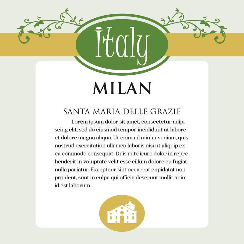 Página ou menu de Designe para produtos italianos Pode ser um guia com informação sobre a cidade italiana de Milão ilustração do vetor