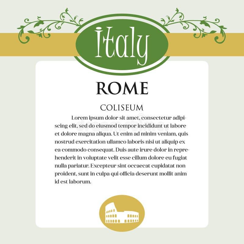 Página ou menu de Designe para produtos italianos Pode ser um guia com informação sobre a cidade italiana de Roma coliseum ilustração stock