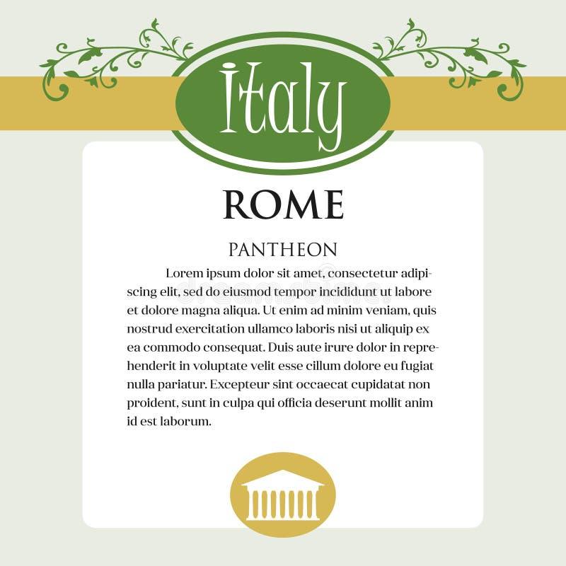 Página ou menu de Designe para produtos italianos Pode ser um guia com informação sobre a cidade italiana de Roma pantheon ilustração royalty free